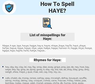 Haye, spellcheck Haye, how to spell Haye, how do you spell Haye, correct spelling for Haye