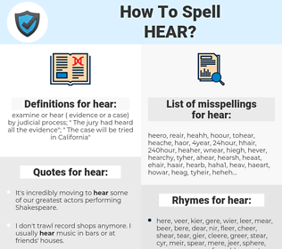 hear, spellcheck hear, how to spell hear, how do you spell hear, correct spelling for hear
