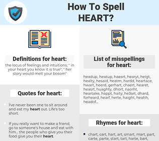 heart, spellcheck heart, how to spell heart, how do you spell heart, correct spelling for heart