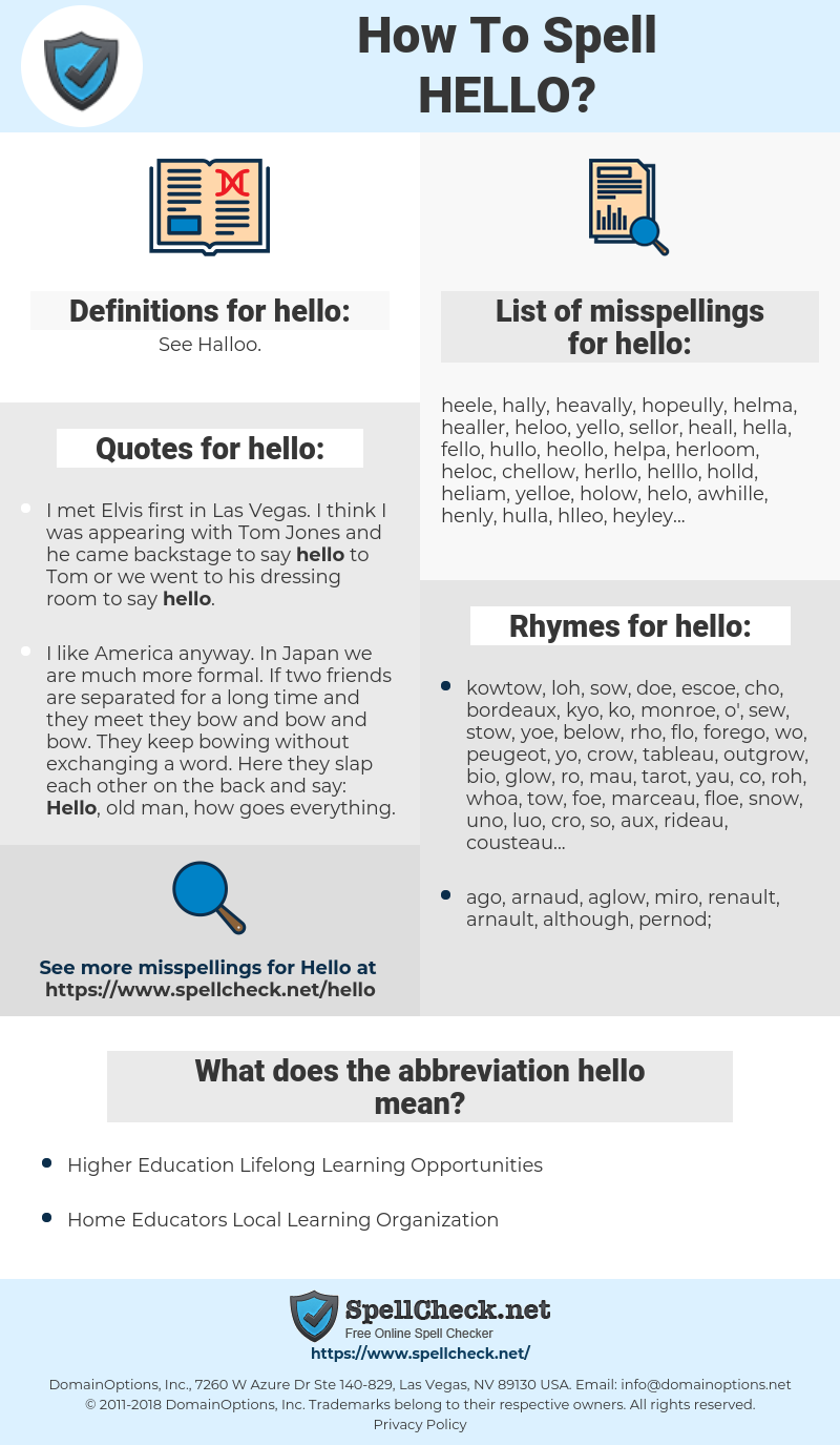 hello, spellcheck hello, how to spell hello, how do you spell hello, correct spelling for hello