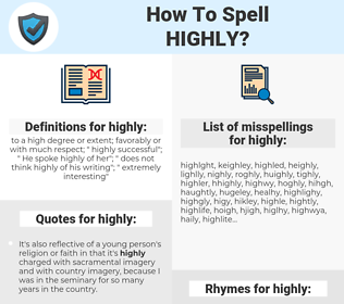 highly, spellcheck highly, how to spell highly, how do you spell highly, correct spelling for highly