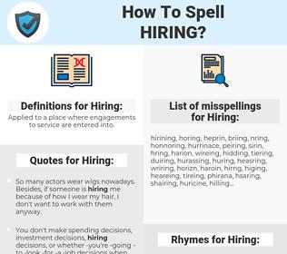 Hiring, spellcheck Hiring, how to spell Hiring, how do you spell Hiring, correct spelling for Hiring
