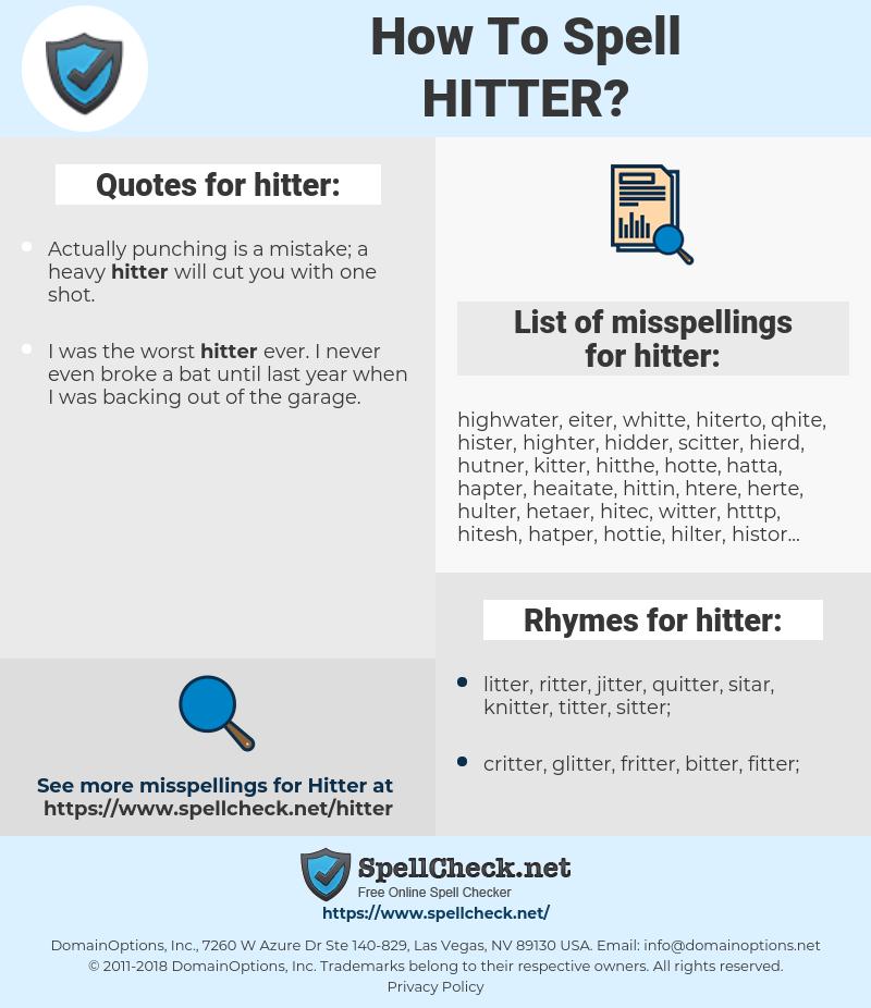 hitter, spellcheck hitter, how to spell hitter, how do you spell hitter, correct spelling for hitter
