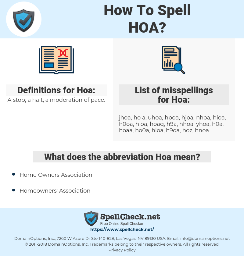 Hoa, spellcheck Hoa, how to spell Hoa, how do you spell Hoa, correct spelling for Hoa