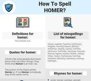 homer, spellcheck homer, how to spell homer, how do you spell homer, correct spelling for homer