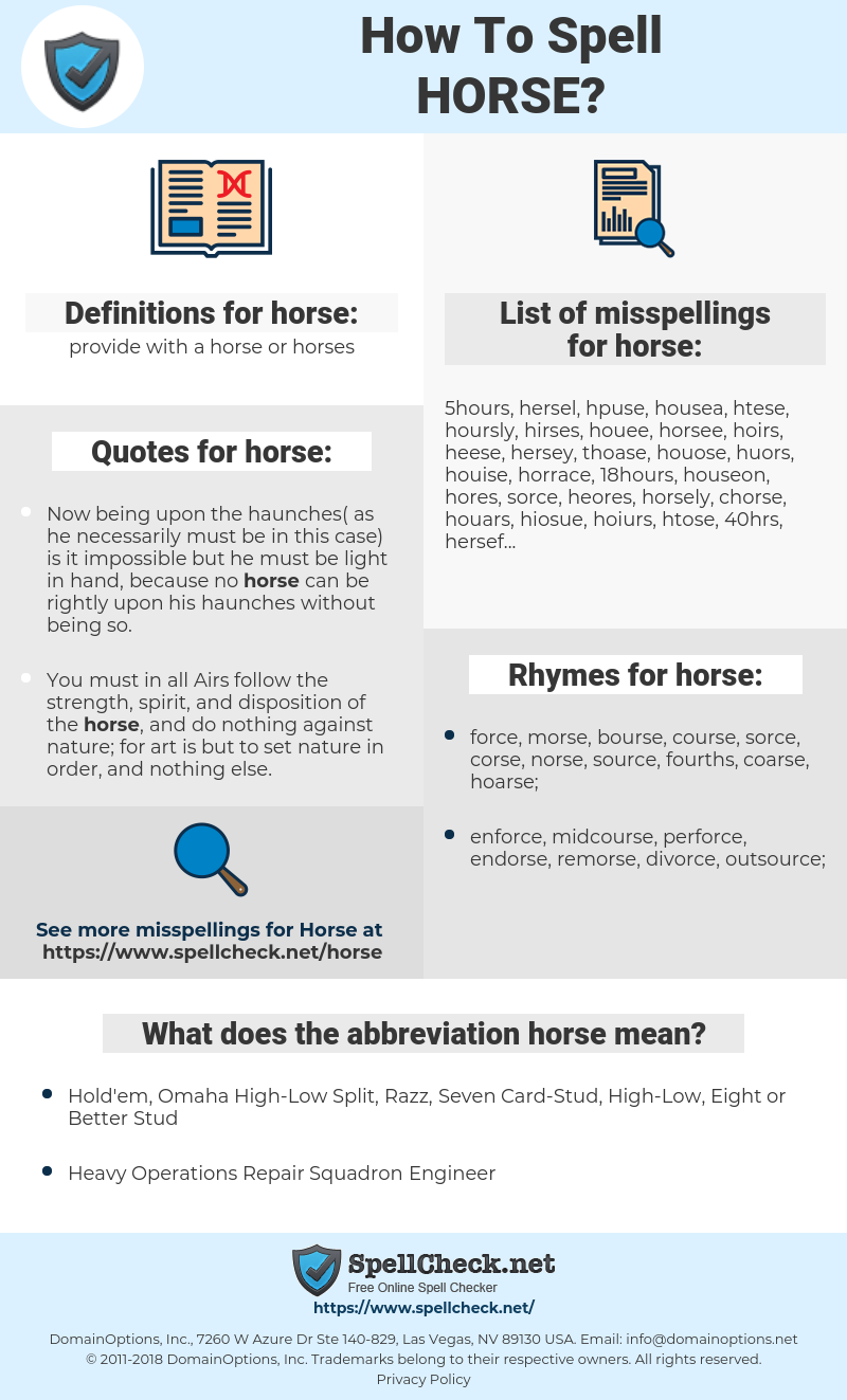 horse, spellcheck horse, how to spell horse, how do you spell horse, correct spelling for horse