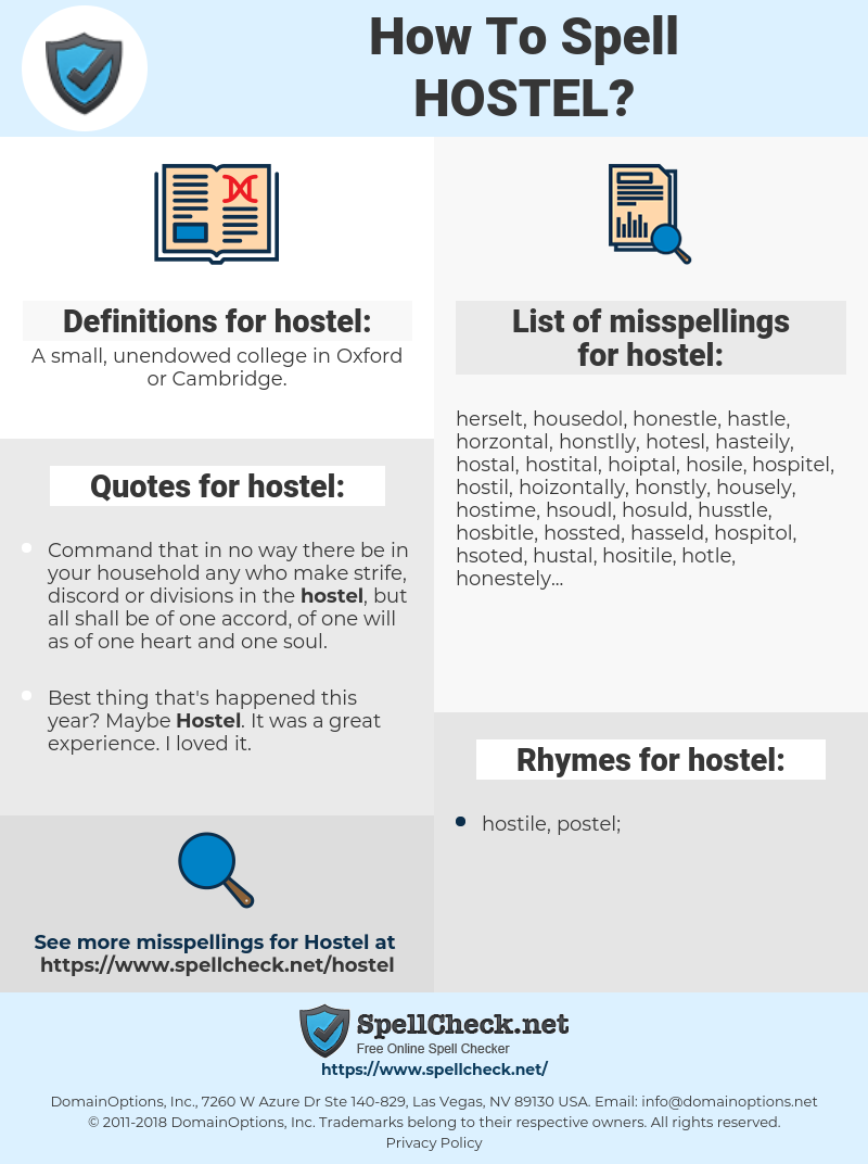 hostel, spellcheck hostel, how to spell hostel, how do you spell hostel, correct spelling for hostel