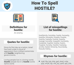 hostile, spellcheck hostile, how to spell hostile, how do you spell hostile, correct spelling for hostile
