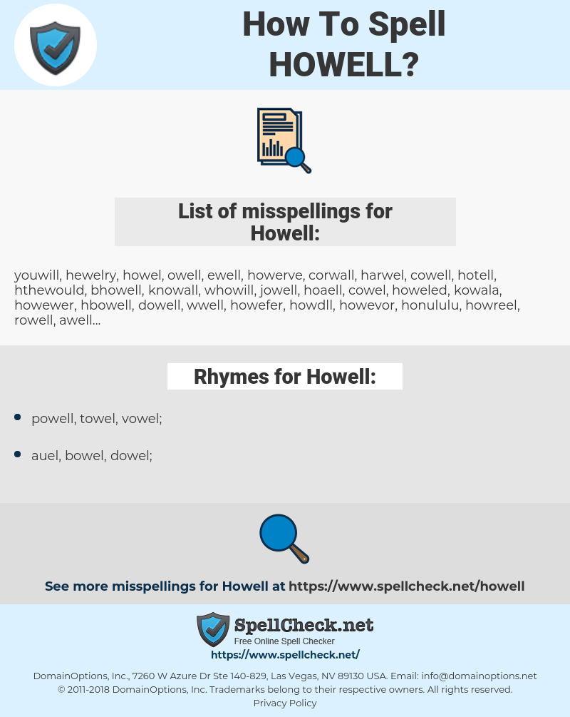 Howell, spellcheck Howell, how to spell Howell, how do you spell Howell, correct spelling for Howell
