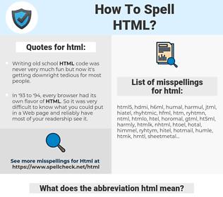 html, spellcheck html, how to spell html, how do you spell html, correct spelling for html