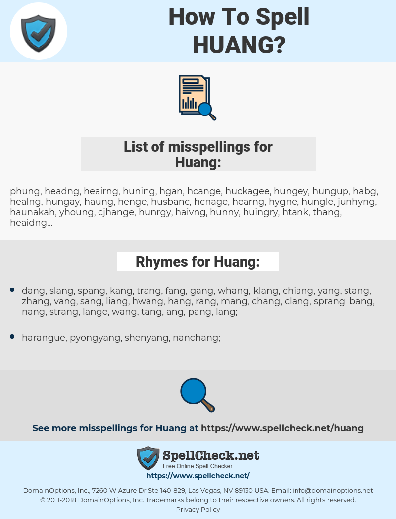 Huang, spellcheck Huang, how to spell Huang, how do you spell Huang, correct spelling for Huang