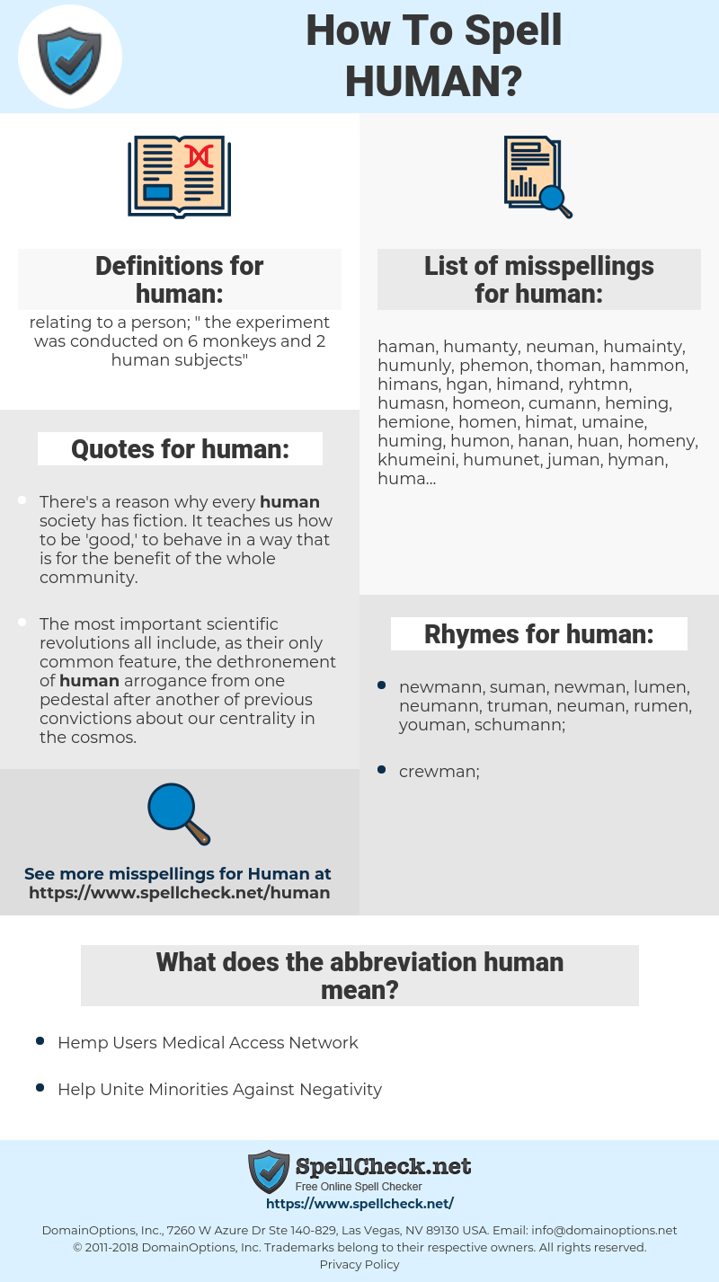 human, spellcheck human, how to spell human, how do you spell human, correct spelling for human