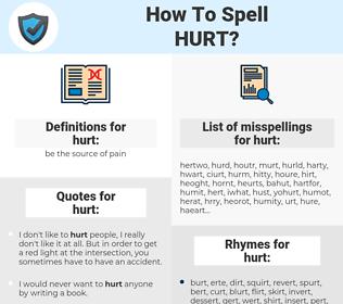 hurt, spellcheck hurt, how to spell hurt, how do you spell hurt, correct spelling for hurt