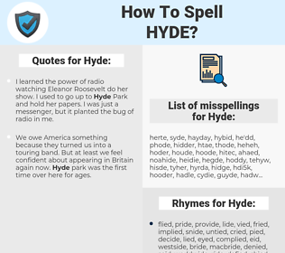 Hyde, spellcheck Hyde, how to spell Hyde, how do you spell Hyde, correct spelling for Hyde