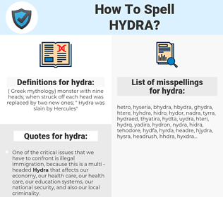 hydra, spellcheck hydra, how to spell hydra, how do you spell hydra, correct spelling for hydra