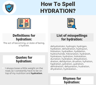 hydration, spellcheck hydration, how to spell hydration, how do you spell hydration, correct spelling for hydration
