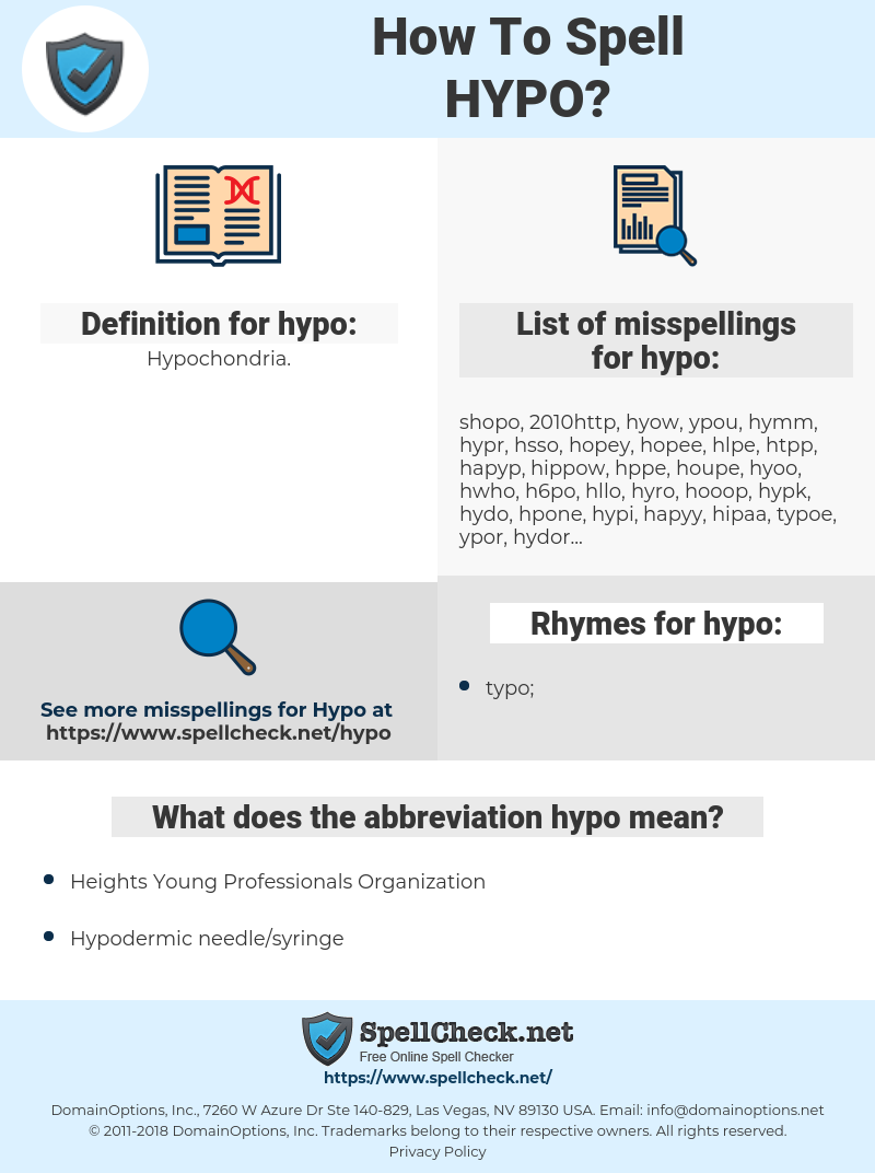 hypo, spellcheck hypo, how to spell hypo, how do you spell hypo, correct spelling for hypo
