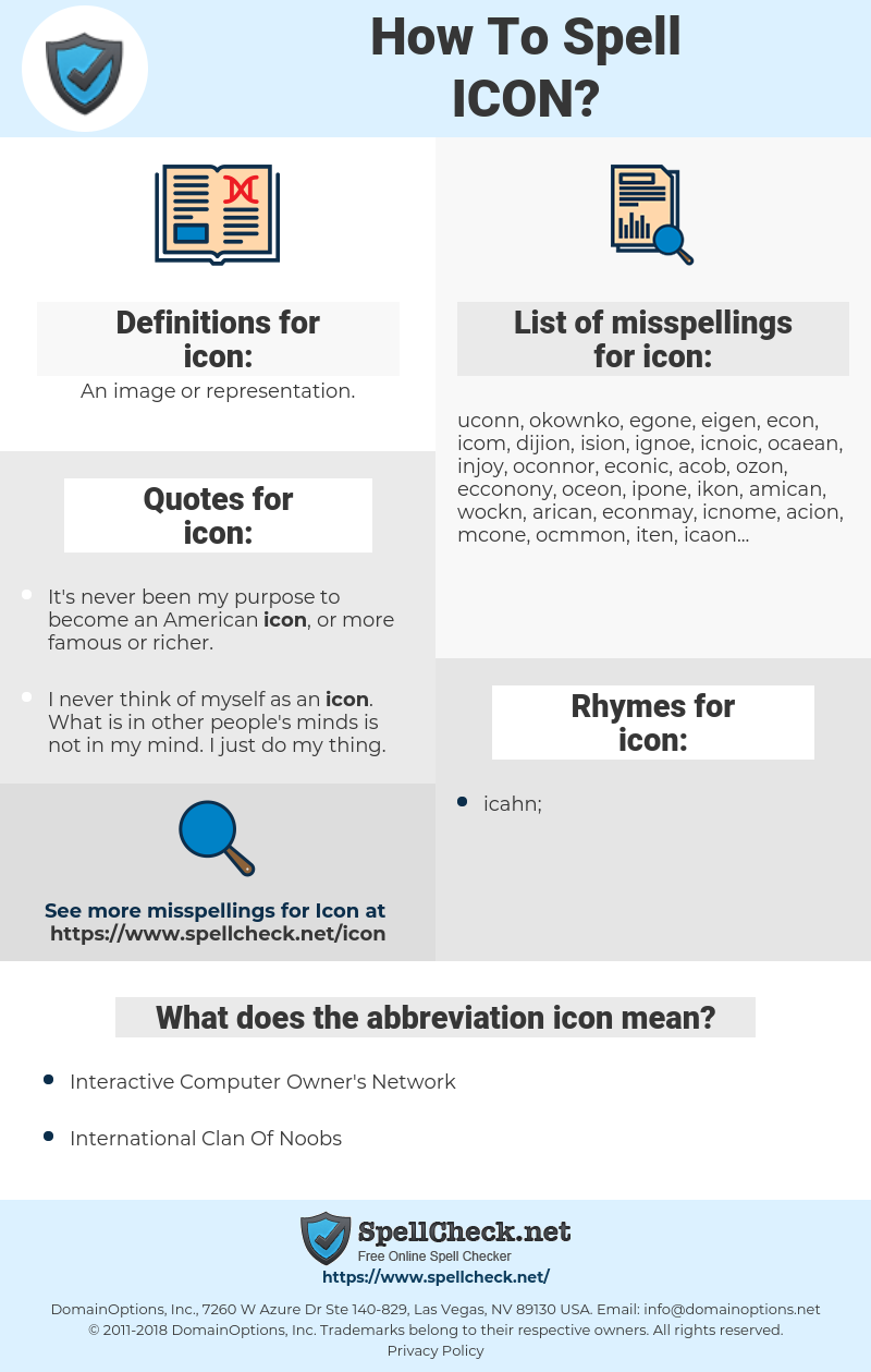 icon, spellcheck icon, how to spell icon, how do you spell icon, correct spelling for icon