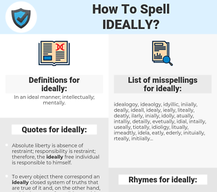 ideally, spellcheck ideally, how to spell ideally, how do you spell ideally, correct spelling for ideally