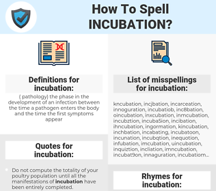 incubation, spellcheck incubation, how to spell incubation, how do you spell incubation, correct spelling for incubation