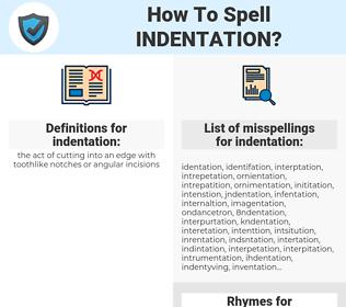 indentation, spellcheck indentation, how to spell indentation, how do you spell indentation, correct spelling for indentation