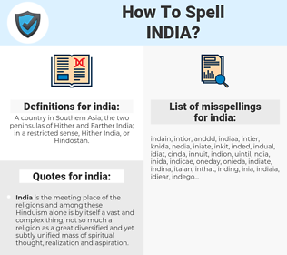 india, spellcheck india, how to spell india, how do you spell india, correct spelling for india