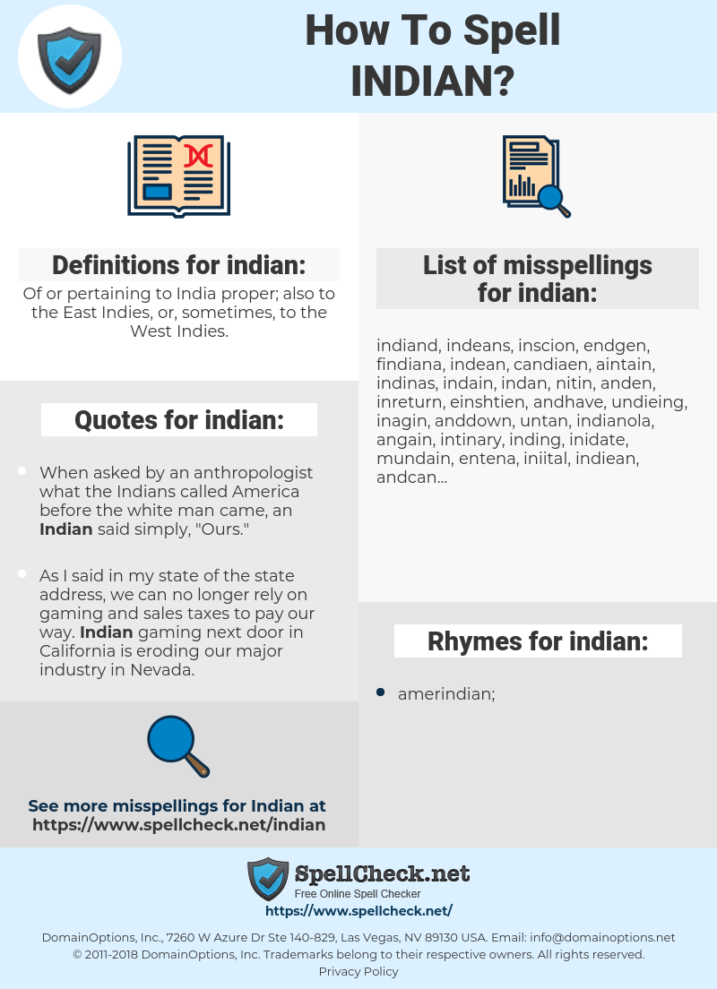indian, spellcheck indian, how to spell indian, how do you spell indian, correct spelling for indian