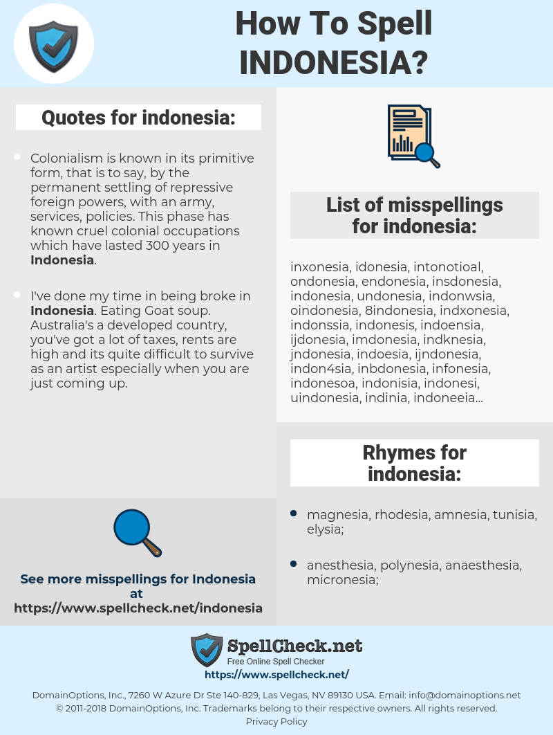indonesia, spellcheck indonesia, how to spell indonesia, how do you spell indonesia, correct spelling for indonesia