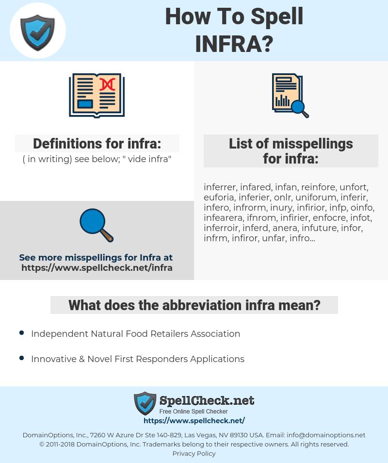 infra, spellcheck infra, how to spell infra, how do you spell infra, correct spelling for infra