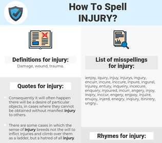 injury, spellcheck injury, how to spell injury, how do you spell injury, correct spelling for injury