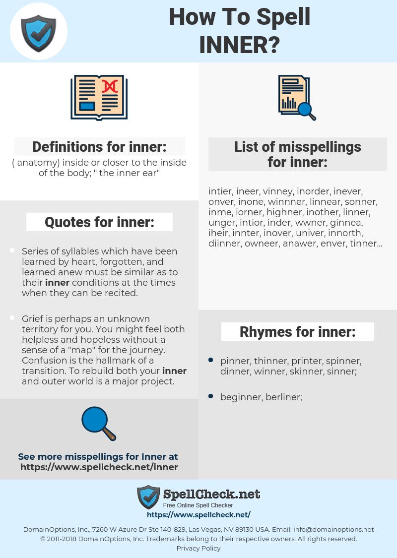 inner, spellcheck inner, how to spell inner, how do you spell inner, correct spelling for inner