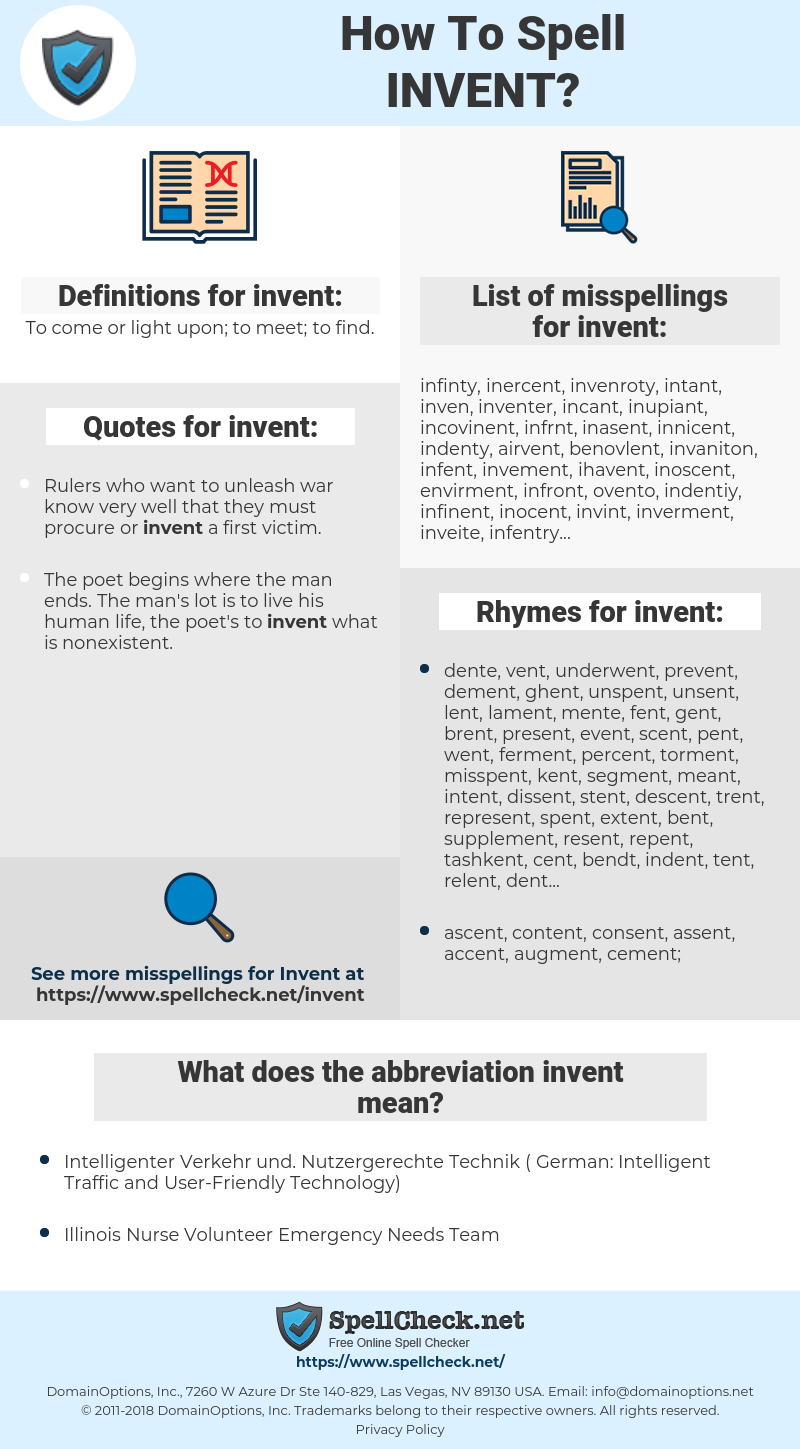 invent, spellcheck invent, how to spell invent, how do you spell invent, correct spelling for invent