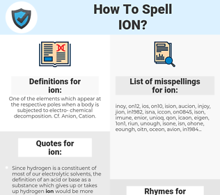 ion, spellcheck ion, how to spell ion, how do you spell ion, correct spelling for ion