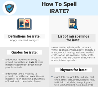 irate, spellcheck irate, how to spell irate, how do you spell irate, correct spelling for irate