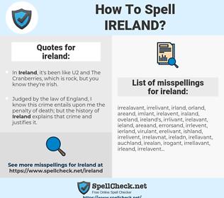 ireland, spellcheck ireland, how to spell ireland, how do you spell ireland, correct spelling for ireland