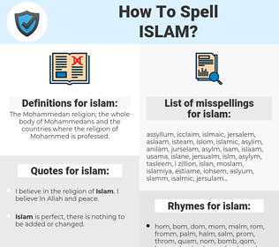 islam, spellcheck islam, how to spell islam, how do you spell islam, correct spelling for islam