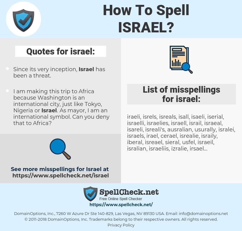 israel, spellcheck israel, how to spell israel, how do you spell israel, correct spelling for israel