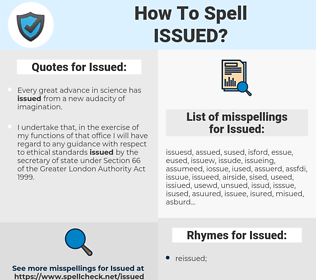 Issued, spellcheck Issued, how to spell Issued, how do you spell Issued, correct spelling for Issued