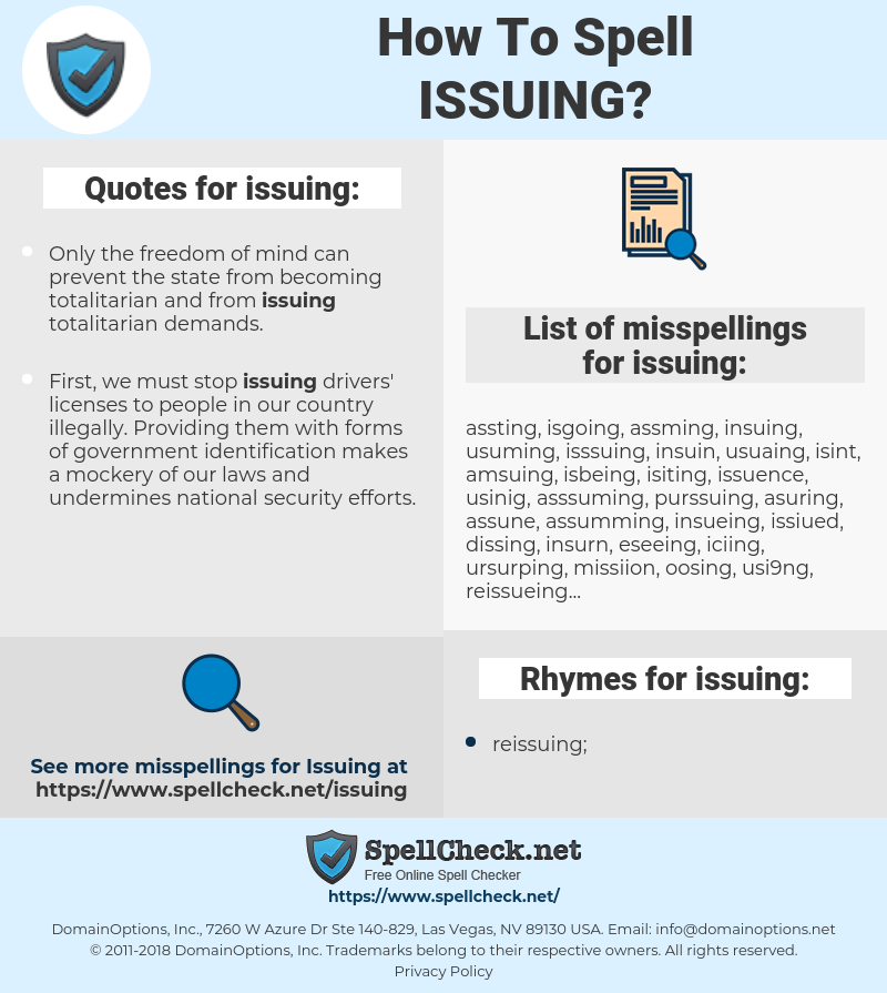 issuing, spellcheck issuing, how to spell issuing, how do you spell issuing, correct spelling for issuing