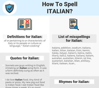 italian, spellcheck italian, how to spell italian, how do you spell italian, correct spelling for italian