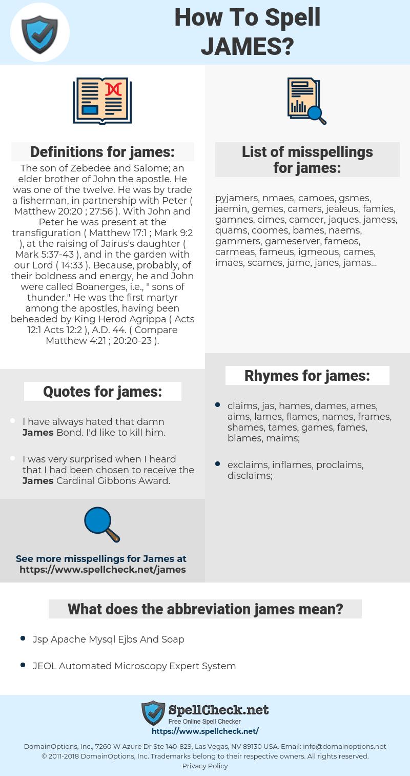 james, spellcheck james, how to spell james, how do you spell james, correct spelling for james