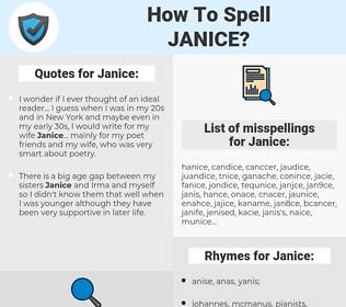 Janice, spellcheck Janice, how to spell Janice, how do you spell Janice, correct spelling for Janice