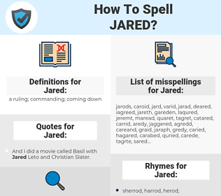 Jared, spellcheck Jared, how to spell Jared, how do you spell Jared, correct spelling for Jared