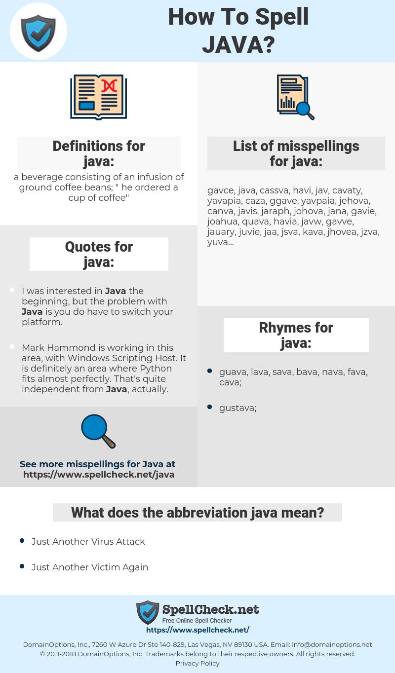 java, spellcheck java, how to spell java, how do you spell java, correct spelling for java