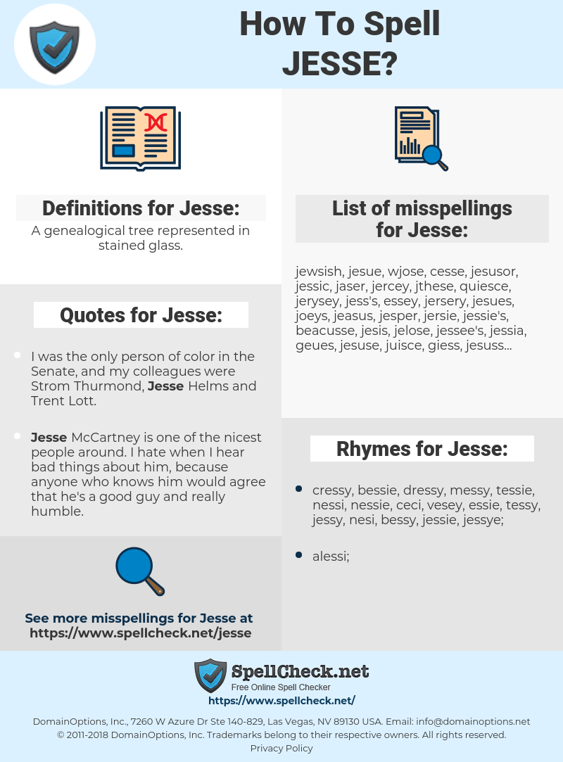 Jesse, spellcheck Jesse, how to spell Jesse, how do you spell Jesse, correct spelling for Jesse