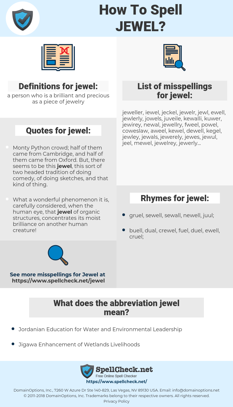 jewel, spellcheck jewel, how to spell jewel, how do you spell jewel, correct spelling for jewel