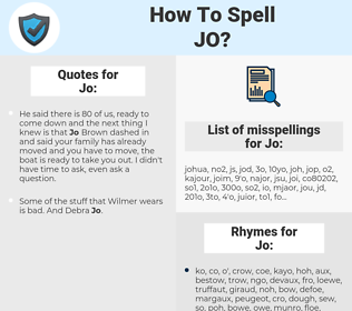 Jo, spellcheck Jo, how to spell Jo, how do you spell Jo, correct spelling for Jo