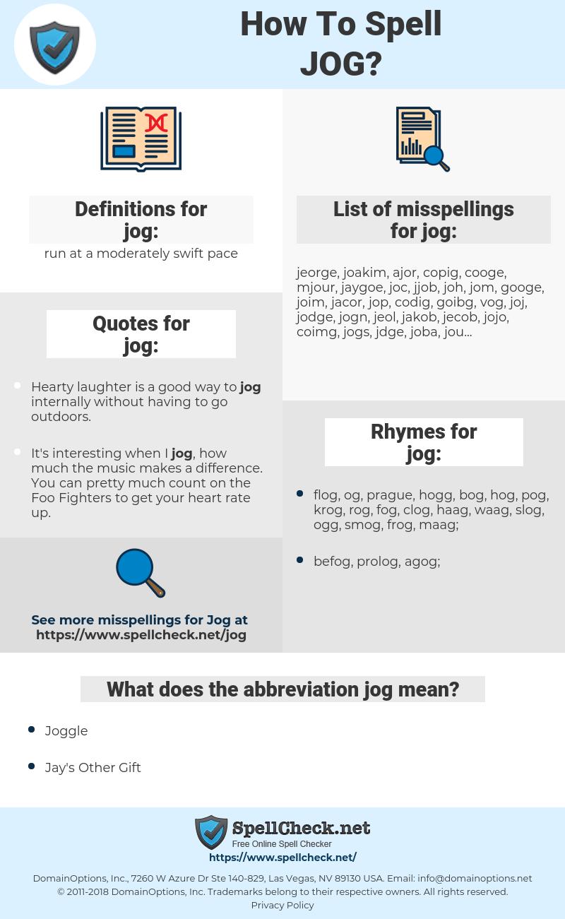 jog, spellcheck jog, how to spell jog, how do you spell jog, correct spelling for jog