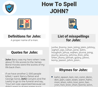 John, spellcheck John, how to spell John, how do you spell John, correct spelling for John