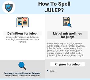 julep, spellcheck julep, how to spell julep, how do you spell julep, correct spelling for julep